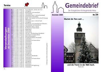 Gemeindebrief - Die Kirchengemeinden in HELSA