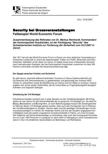 Dr. Markus Reihardt, Kdt. Kantonspolizei Graubünden - Swissi