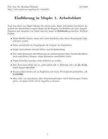 DynaGeo Einführung und erstes Arbeitsblatt