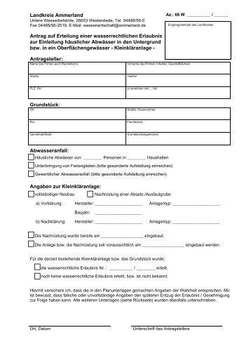 Antrag auf Erteilung einer wasserrechtlichen Erlaubnis ... - KDO-KIM