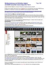 Bildbearbeitung und Schärfen digital, Tipp 168 mit RAW Converter ...