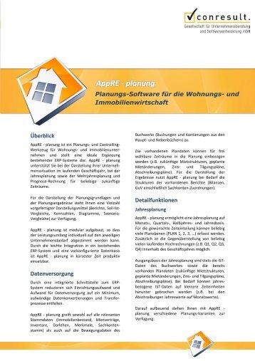 Überblick Datenversorgung Detailfunktionen Planungs ... - Conresult