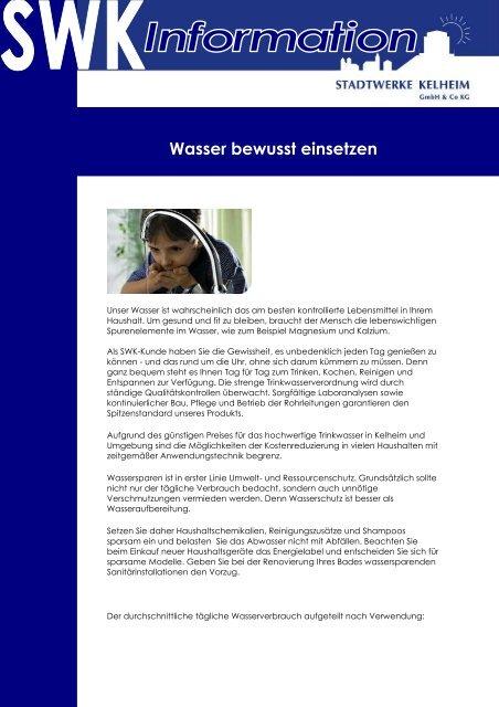Download Wasser bewusst einsetzen - Stadtwerke Kelheim GmbH ...