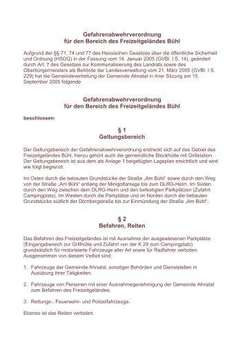 Gefahrenabwehrverordnung für den Bereich des ... - Ahnatal