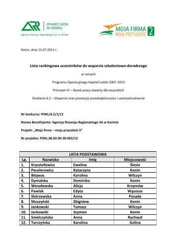 Lista rankingowa - Agencja Rozwoju Regionalnego SA w Koninie