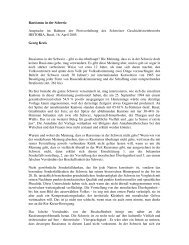 Rassismus in der Schweiz Ansprache im Rahmen der ... - Historia