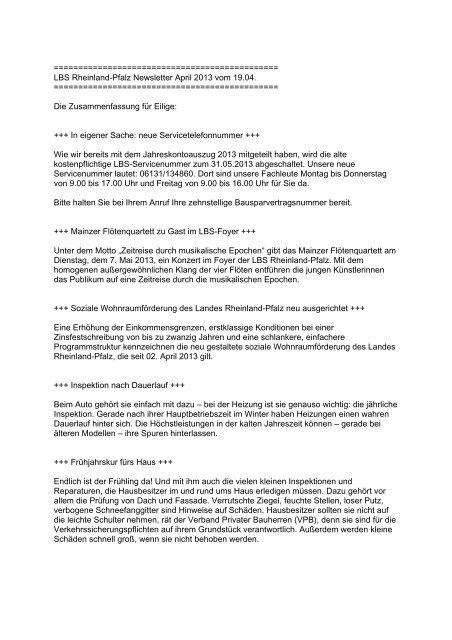 LBS Rheinland-Pfalz Newsletter April 2013 vom 19.04.