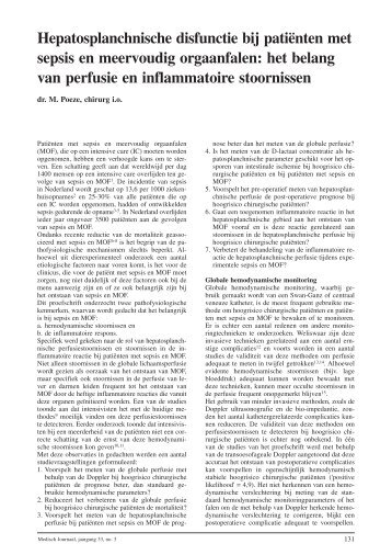 Hepatosplanchnische disfunctie bij patiënten met sepsis en ...