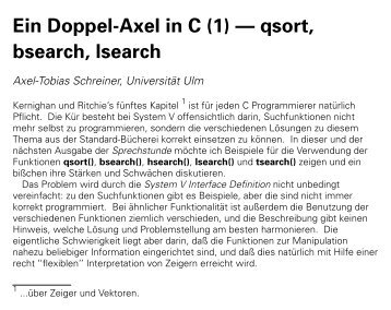 Ein Doppel-Axel in C (1) -- qsort, bsearch, lsearch