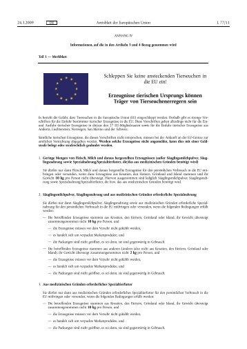 Schleppen Sie keine ansteckenden Tierseuchen in die EU ein! - Favv