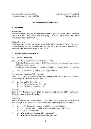 Generative Grammatik des Südens Anke Assmann & Fabian Heck ...