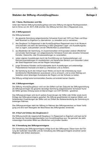 Statuten der Stiftung «Kunst(Zeug)Haus» Beilage 2