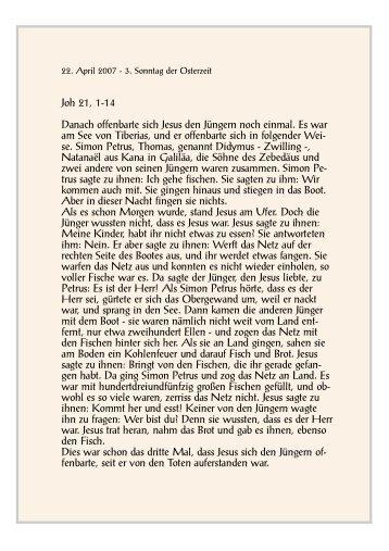 Danach offenbarte sich Jesus den Jüngern noch einmal