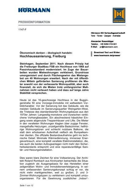 Hochhaussanierung, Freiburg - Hörmann KG
