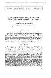 Die Skelettfunde des Jahres 1931 von Duel bei Feistritz a. d. Drau