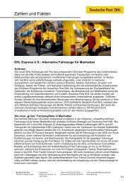 Factsheet New York Fahrzeuge - Deutsche Post DHL