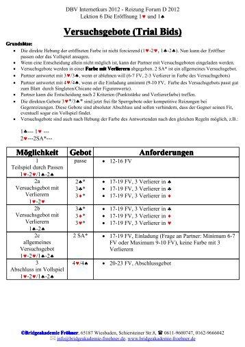 Versuchsgebote (Trial Bids) - Bridgeakademie Fröhner