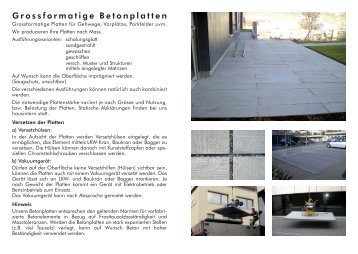Grossformatige Betonplatten