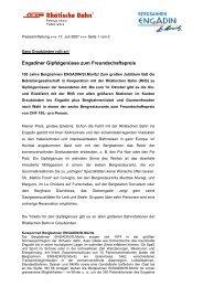 Engadiner Gipfelgenüsse zum Freundschaftspreis - RhB