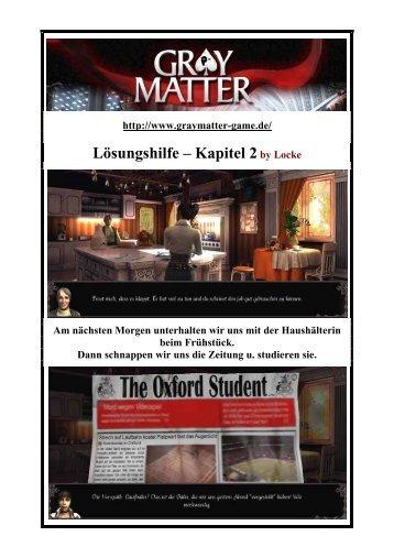 Gray Matter - Lockes Lösung zum 2. Kapitel - Gamepad.de