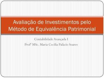 Avaliação de Investimentos pelo Método de Equivalência Patrimonial