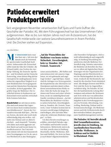 Patiodoc erweitert Produktportfolio - patiodoc AG
