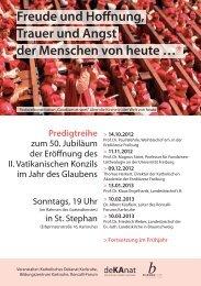 Flyer Predigtreihe 2012 - Katholisches Dekanat Karlsruhe