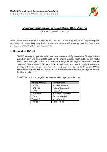 Verwendungshinweise Digitalfunk BOS Austria
