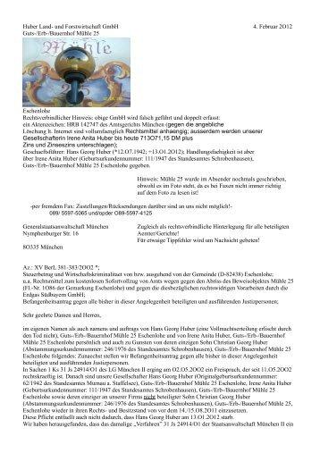 Huber Land- und Forstwirtschaft GmbH 4. Februar 2O12 Guts-/Erb ...