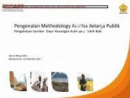 PER Methodology – Harry Masyrafah - Analisis Belanja Publik Aceh