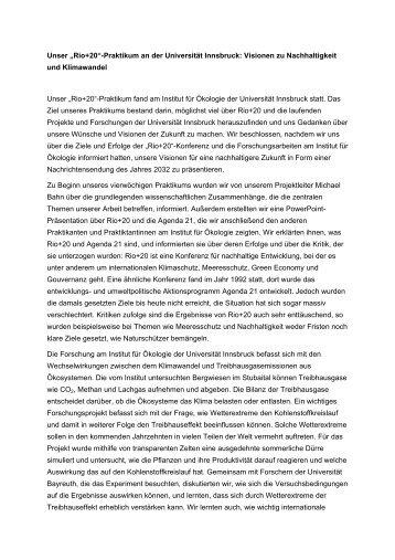 """Praktikumsbericht RIO+20 """"Visionen zu Nachhaltigkeit und ..."""