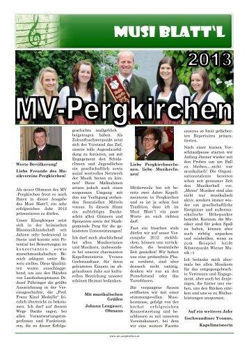 Zeitung - Musikverein Pergkirchen