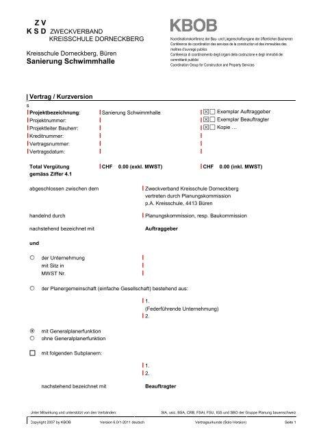 5 Kbob Vertrag Muster Kreisschule Dorneckberg