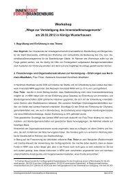 Protokoll zum Workshop - Innenstadtforum Brandenburg