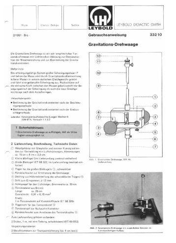 2!1991 - Br5 — Die Gravitations-Drehwaage ist ein ... - LD DIDACTIC