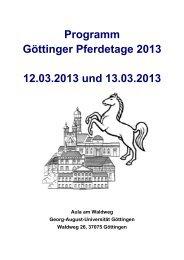 Programm Göttinger Pferdetage 2013 12.03.2013 und 13.03.2013