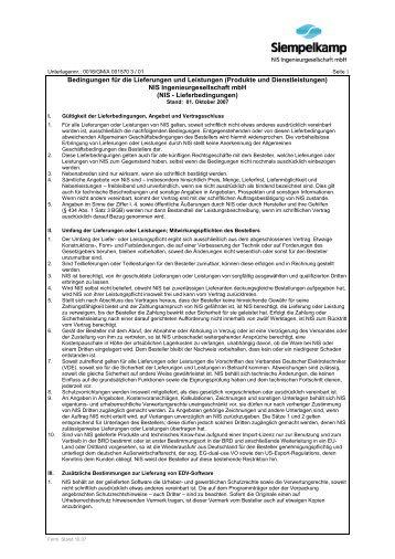 Bedingungen für die Lieferungen und ... - Siempelkamp NIS