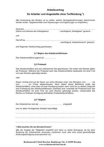 Muster Eines Arbeitsvertrags Mit Einem Technischen Betriebsleiter