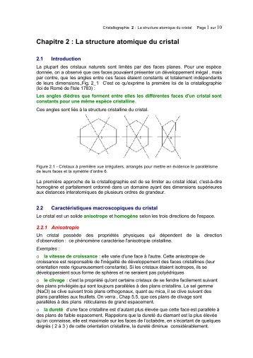 Chapitre 2 - Cours et Exercices corriges : Cristallographie, Diffraction