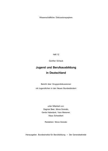 Jugend und Berufsausbildung in Deutschland - BiBB