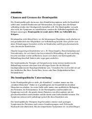 Chancen und Grenzen der Homöopathie Die homöopathische ...
