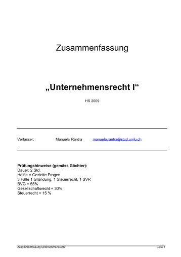 """Zusammenfassung """"Unternehmensrecht I"""" - Studentische ..."""