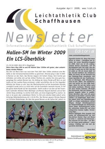 LCS Newsletter 04 2009 - Leichtathletik Club Schaffhausen