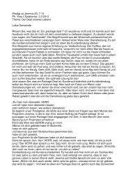 Predigt Gottesdienst mit Taufen vom 3. März 2013 von Pfr. Yves L ...