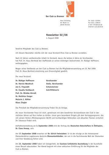Newsletter 02/08 - Der Club zu Bremen