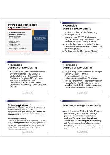 Spranger - Streit über Peter Petersen in der NS-Zeit