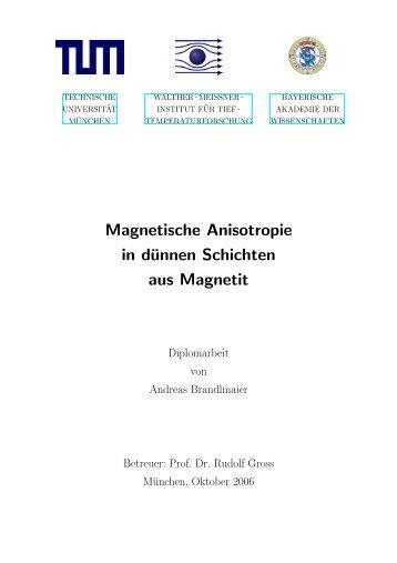 Magnetische Anisotropie in dünnen Schichten aus Magnetit