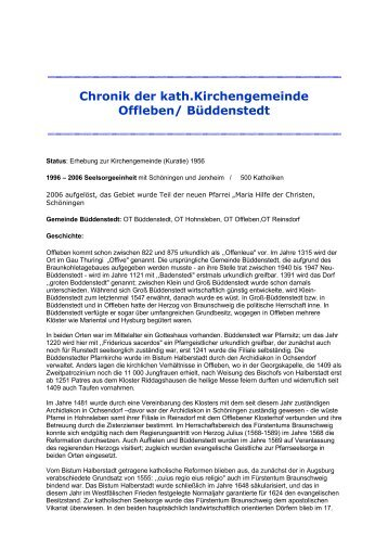 Chronik der kath.Kirchengemeinde Offleben - Dekanat Wolfsburg ...