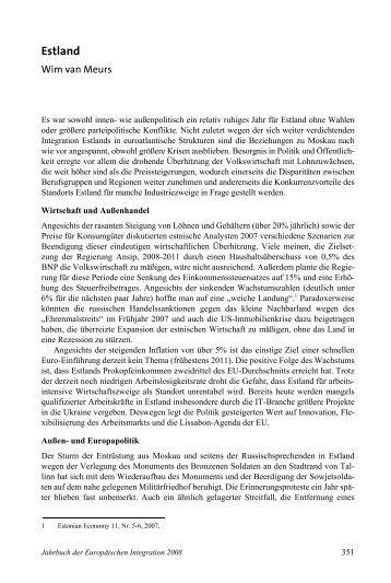 Estland - Jahrbuch der Europäischen Integration