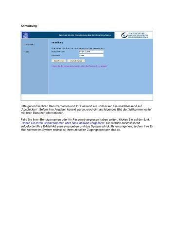 Anmeldung Bitte geben Sie Ihren Benutzernamen und Ihr Passwort ...